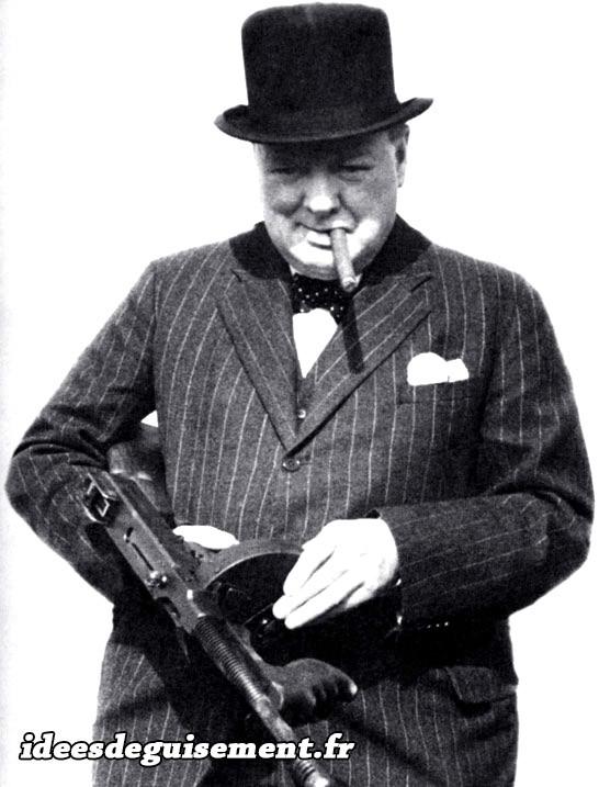 Déguisement de Winston Churchill en Gangster
