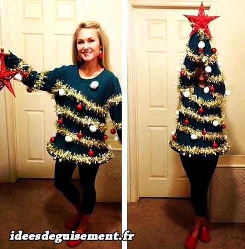 Costume improvisé de sapin de Noël