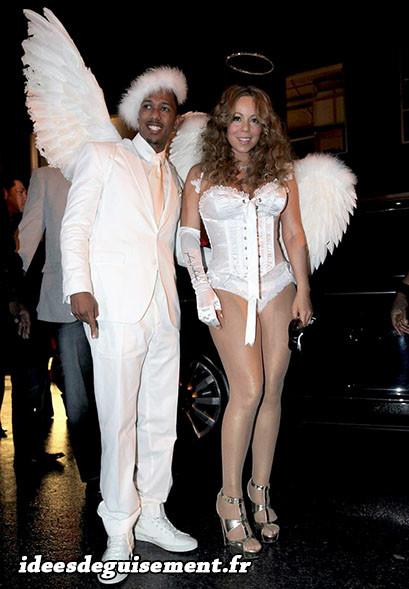 Déguisement du couple Nick Cannon et Mariah Carey en ange blanc sexy