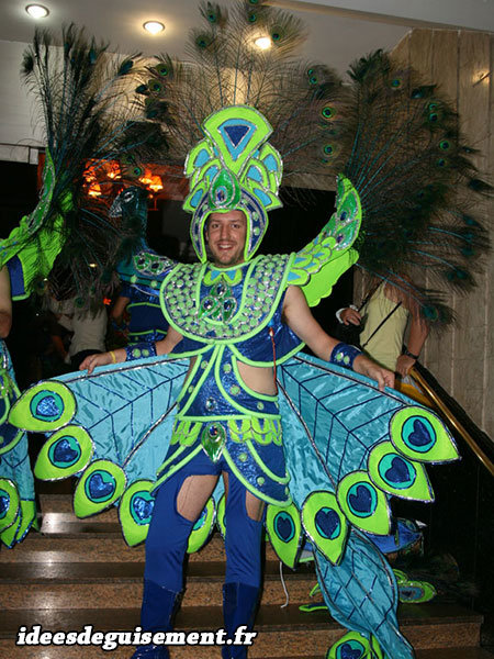 Déguisement original de Paon au Carnaval de Rio