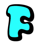 Turquoise letter F