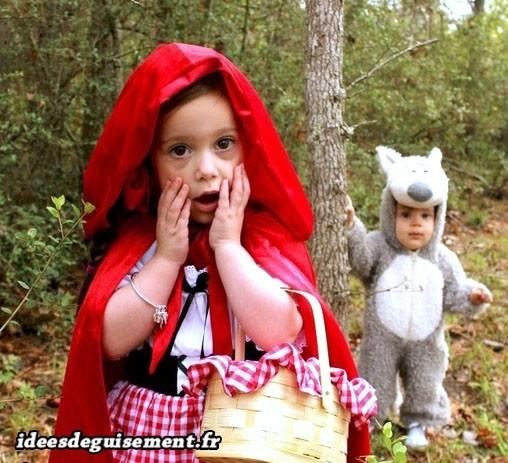 Déguisement à deux du chaperon rouge et grand méchant loup