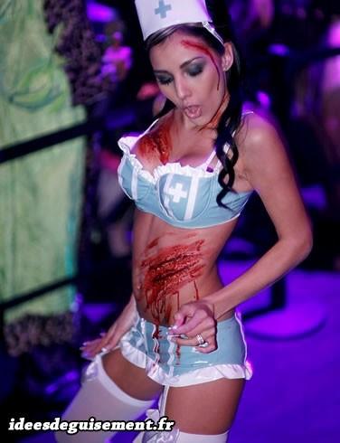Déguisement sexy d'infirmière zombie