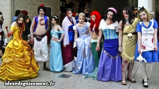 Déguisements de princesses Disney zombies