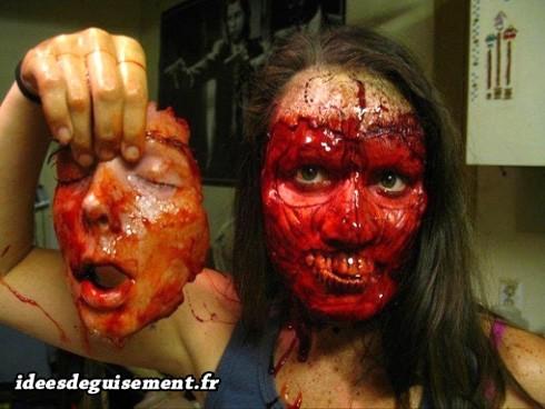 Maquillage de visage scalpé de zombie