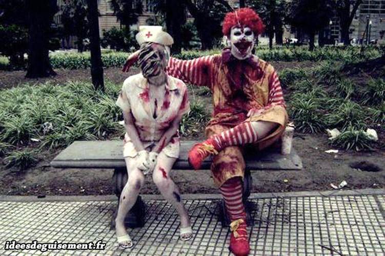 Déguisements Halloween d'infirmière & McDonald en zombies