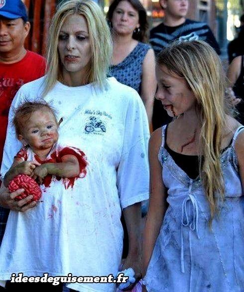 Déguisement de maman et bébé en zombies
