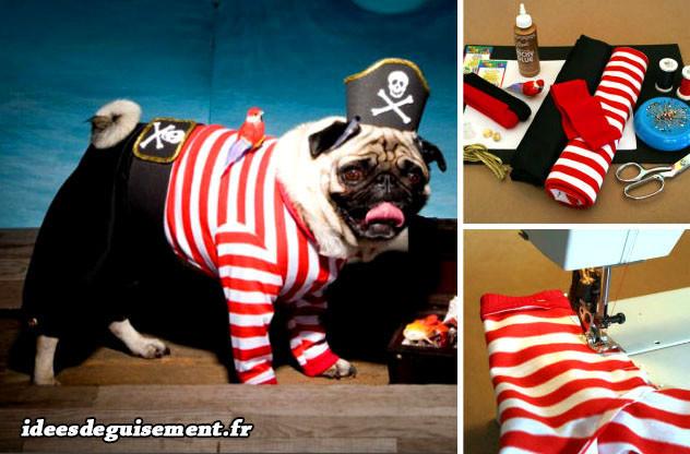 Déguisement de pirate rayé en rouge et blanc