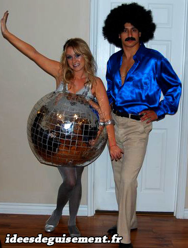 Costume couple danseur disco et boule disco