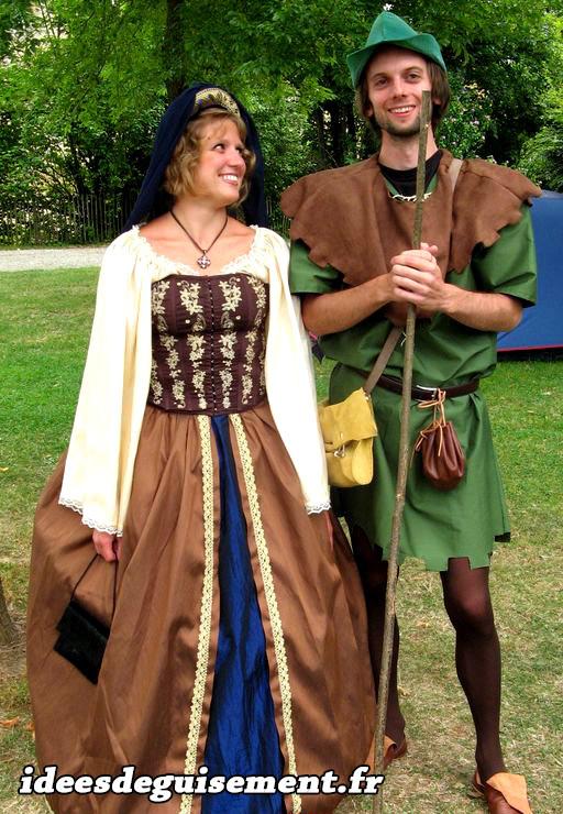 Déguisements en couple de Robin des bois et femme de la renaissance