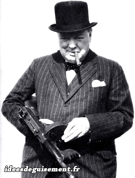 Déguisement de Winston Churchill en Gangster