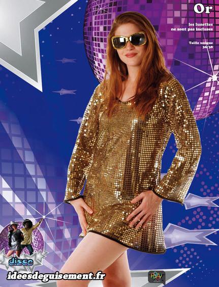 Tenue robe dorée disco à pailettes