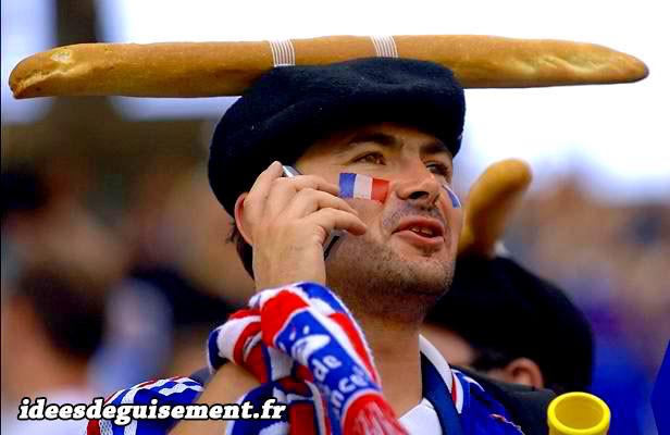 Déguisements de supporter Français baguette de pain