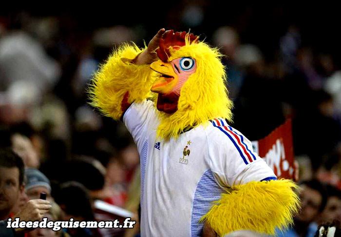 Costume de coq/poulet supporter de l'équipe de France