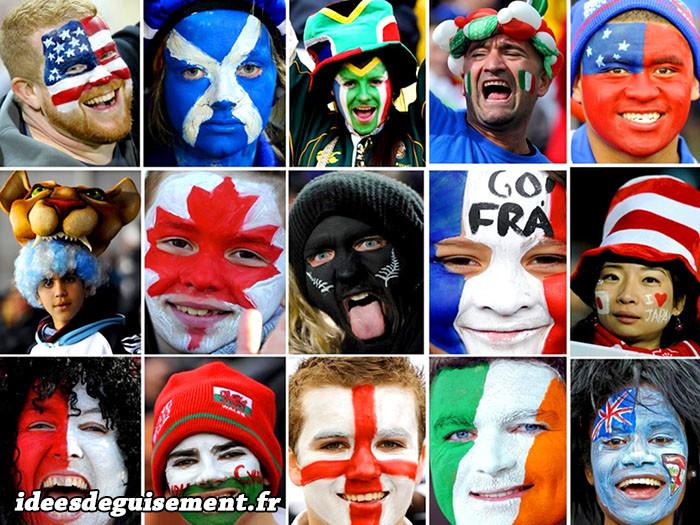 Maquillages de drapeaux étrangers pour la coupe du monde