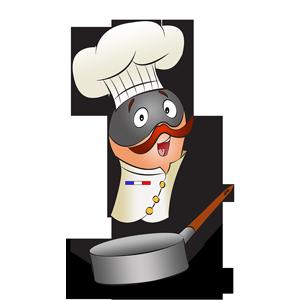 Costume de chef cuisinier dans une casserole