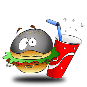 Costume de hamburger et boisson de fast food