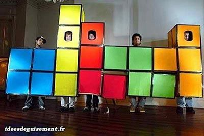 Déguisement drôle de Tetris en groupe
