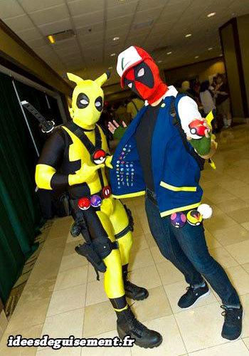 Déguisement mix de Deadpool, Sacha et Pikachu de Pokémon