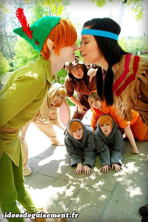 Déguisement en couple de Peter Pan et Lili la Tigresse